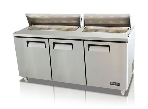 """Migali C-SP72-18-HC Three Section Solid Hinged Door Triple Shelf 24.5 cu ft 72.7""""W Stainless Steel Competitor Series Rear Mounted Refrigerated Counter / Sandwich Prep Tables - 24.5 cubic feet 72.7 inch wide with 18 Pans Capacity, 3 Swing Doors, 3 Shelves and R290 Refrigerant"""