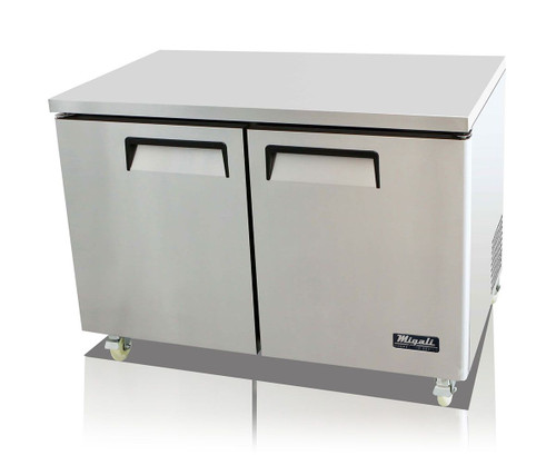 """Migali C-U48R-HC Two Section Solid Hinged Door 2 Shelf 12 cu ft 48.2""""W Stainless Steel Competitor Series Rear Mounted Reach-In Under-Counter and Work top Refrigerators   12 cubic feet 48.2 inch wide Undercounter & Worktop Fridge with Double Swing Doors, R290 Refrigerant and Energy Star"""