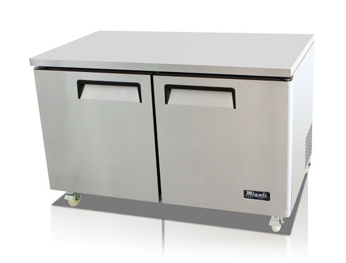 """Migali C-U60R-HC Two Section Solid Hinged Door 2 Shelf 18.2 cu ft 60.2""""W Stainless Steel Competitor Series Rear Mounted Reach-In Under-Counter and Work top Refrigerators 