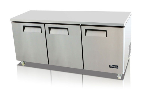 """Migali C-U72R-HC - Three Section Solid Hinged Door 3 Shelf 24.5 cu ft 72.7""""W Stainless Steel Competitor Series Rear Mounted Reach-In Under-Counter and Work Top Refrigerators   24.5 cubic feet 72.7 inch wide Undercounter & Worktop Fridge with Triple Swing Doors, R290 Refrigerant and Energy Star"""