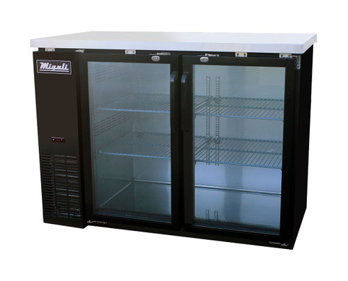 """Migali C-BB48G-HC Two Section Hinged Glass Door Four Shelf 11.8 cu ft 48.75""""W Black Steel Competitor Series Side Mounted Refrigerated Back Bar Storage Cabinets   11.8 cubic feet 48.75 inch wide Back Bar Refrigerators / Coolers with 2 Swing Doors, 4 Shelves & R290 Refrigerant"""