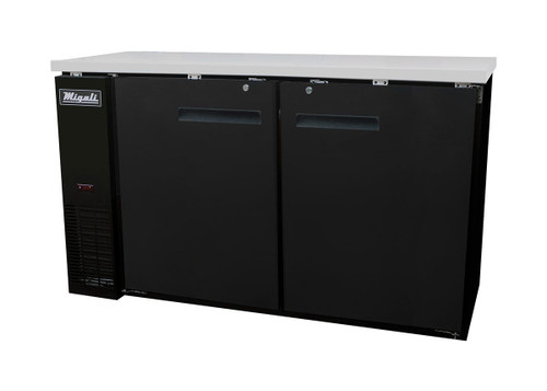 """Migali C-BB60-HC Two Section Solid Hinged Door Four Shelf 15.8 cu ft 60.8""""W Black Steel Competitor Series Side Mounted Refrigerated Back Bar Storage Cabinets   19.6 cubic feet 15.8 inch wide Back Bar Refrigerators / Coolers with 2 Swing Doors, 4 Shelves & R290 Refrigerant"""