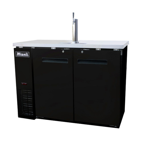 """Migali C-DD48-2-HC Two Section Solid Hinged Door 2 Keg 11.8 cu ft 48.75""""W Black Steel Competitor Series Side Mounted Direct Draw Beer Coolers 