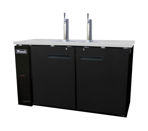 """Migali C-DD60-2-HC Two Section Solid Hinged Door 2 Keg 15.8 cu ft 60.8""""W Black Steel Competitor Series Side Mounted Direct Draw Beer Coolers 