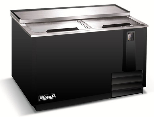 """Migali C-HBC50-HC Two Solid Slide Lid 13 cu ft 50""""W Black Steel Competitor Series Side Mounted Horizontal Bottle Coolers 