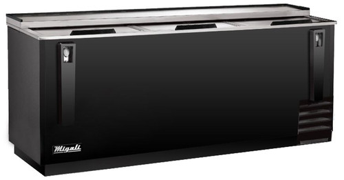 """Migali C-HBC95-HC Three Solid Slide Lid 28 cu ft 95""""W Black Steel Competitor Series Side Mounted Horizontal Bottle Coolers 