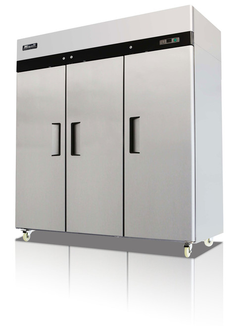 """Migali C-3R-HC - Three Section Solid Hinged Door 72 cu ft 77.8""""W Stainless Steel Competitor Series Top Mounted Reach-In Refrigerators 