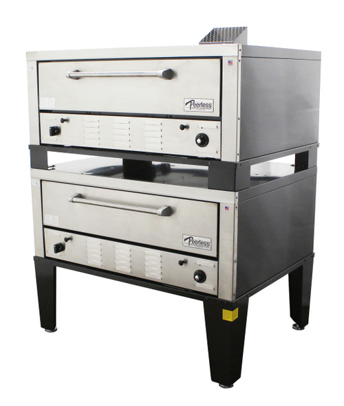 "Peerless CW42P Gas Pizza Ovens with Two 7"" High Decks, Pizza Stones and 42""W x 32""D Deck Interior 
