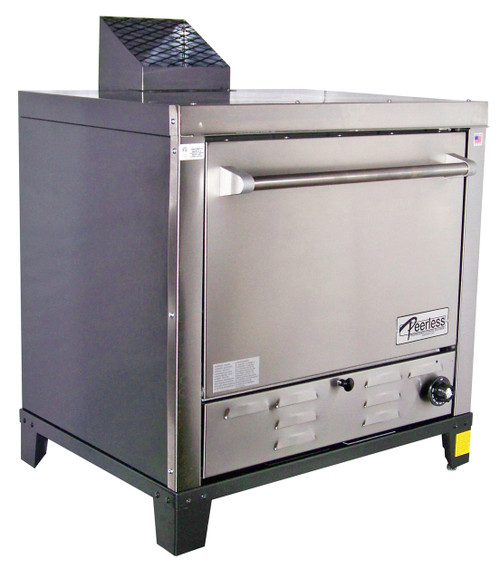 "Peerless C131P One Section 1 Solid Door 4 Shelf Counter Model Stainless Steel Gas Pizza Ovens | Commercial Single-Stacked Countertop Ovens with Four 24""W x 19""D Pizza Stones, 4 Shelves and a Door 30000 BTU"