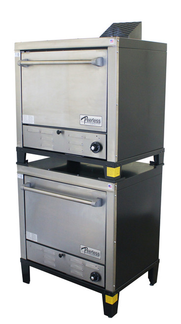 """Peerless C231P Two Section 2 Solid Door 8 Shelf Counter Model Stainless Steel Gas Pizza Ovens 