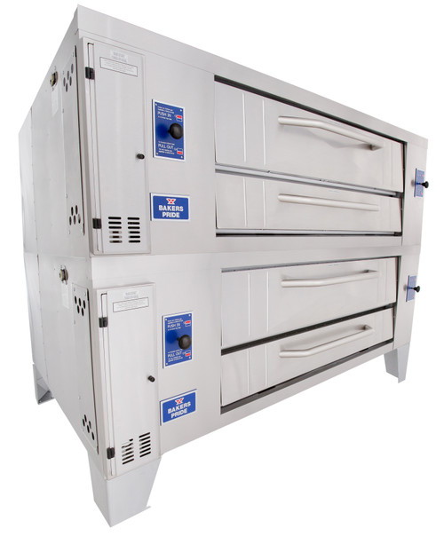 """Bakers Pride Y-802 Two 8"""" Deck High Super Deck Series Stainless Steel Gas Pizza Bake Ovens 