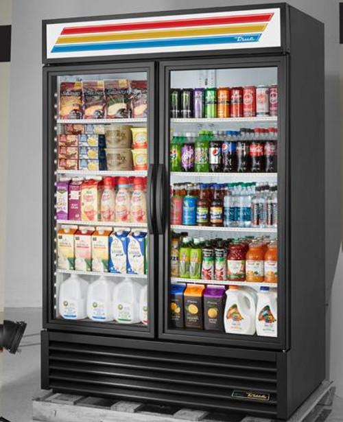 True GDM-49-HC-TSL01 Two Section Glass Hinged Door Eight Shelf Bottom Mounted 49 cu ft Refrigerator Merchandisers - 49 cubic feet Merchandising Refrigerators with 2 Swing Doors, 8 Shelf and R290 Refrigerant