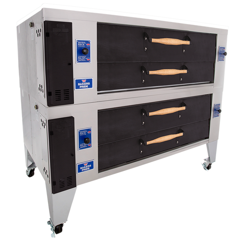 """Bakers Pride Y-602-DSP Two 8"""" Deck High Super Deck Series Stainless & Aluminized Steel Display Gas Pizza Bake Ovens 