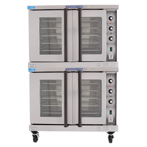 Bakers Pride BCO-E2 Full Size Two (2) Deck Stainless Steel Cyclone Series Electric Convection Ovens | Double-Stacked Pizza Ovens with Thermal Glass, Independent Doors & Energy Star