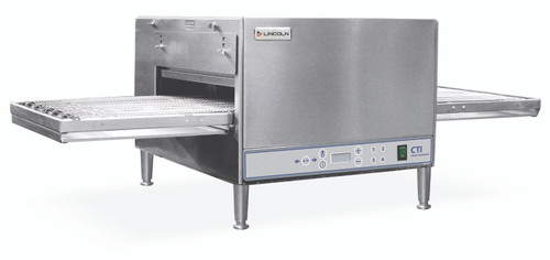 """Lincoln 2502/1366 Single or Double Deck Digital Countertop Impinger Conveyorized Electric Ovens with Extended 50"""" Non-Stick Conveyor, 20 inch Long Baking Chamber and 16 in. Wide Conveyor Belt Per Oven 240V   One or Two-Stacked Pizza Ovens"""