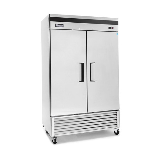 """Migali C-2FB-HC - Two Section Solid Hinged Door 49 cu ft 54.4""""W Stainless Steel Competitor Series Bottom Mounted Reach-In Freezers    49 cubic feet 54.4 inch wide Reach In Freezer with 2 Swing Doors, 6 Shelves and R290 Refrigerant"""