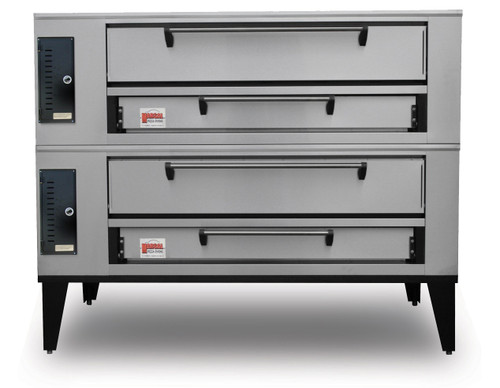 """Marsal SD-1048 Stacked Two 10""""H x 36"""" x 48"""" Baking Chambers Stainless Steel Commercial Gas Double Deck Pizza Bake Ovens   2-Stacked Ovens with Eight 18"""" Pie Capacity, 10 inch High Door per section and (2) 36"""" x 48"""" Cooking Surfaces (2) 95000 BTU"""