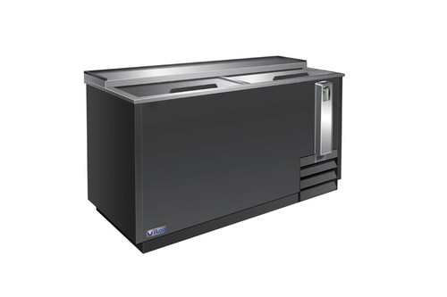 """Ikon IBC-49 Two Slide Lid Side Mounted 13.5 cu ft 49.4""""W Black Steel Flat Top Deep Well Bottle Coolers   13.5 cubic feet 49.4 inch wide Horizontal Bottle Cooler by MVP Group Corp with Double Sliding Doors and 2 Bin Dividers"""