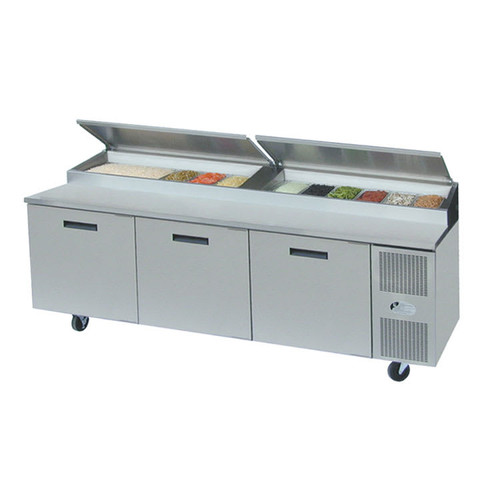 """Randell 8395W-290 Three Section Solid Door 28.18 cu ft 95""""W Stainless Steel Refrigerated Raised Condiment Mega Rail Prep Tables 