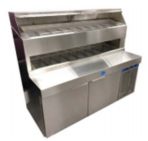 """Randell 8272D-290 Two Section 72"""" W 14.4 cu ft Refrigerated Raised Condiment Double Rail Prep Table"""