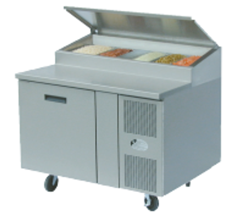 """Randell 8148N-290-PCB One Section Solid Hinged Door 9 cu ft 48""""W Stainless Steel Refrigerated Raised Condiment Narrow Rail Prep Tables 