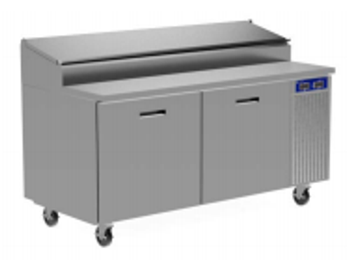 """Randell 84111N-290 Four Section Solid Hinged Door 32.81 cu ft 111""""W Stainless Steel Refrigerated Raised Condiment Narrow Rail Prep Tables 