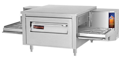 "Sierra Range C1830G Single Stack Stainless Steel Gas Countertop Conveyor Pizza Ovens by MVP Group Corp | One (1) Deck Stackable Oven with 30 inch Wide Belt, Reversible Conveyor and 30"" Long x 18"" Deep Cooking Chamber 50000 BTU"