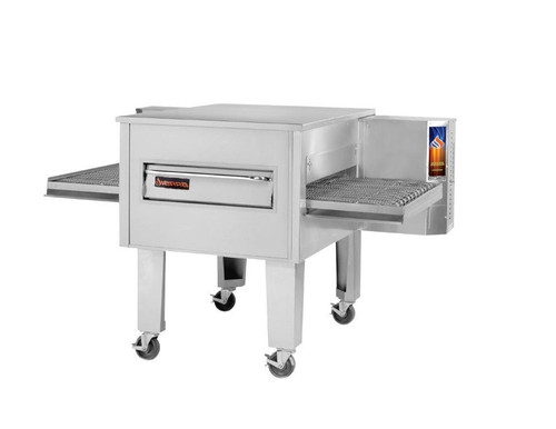 "Sierra Range C3236E Single Stack Stainless Steel Electric Conveyor Pizza Ovens by MVP Group Corp | One (1) Deck Stackable Oven with 36 inch Wide Belt, Reversible Conveyor and 36"" Long x 32"" Deep Cooking Chamber 208V"