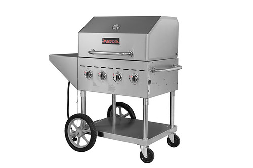 """Sierra Range SRBQ-30 Four Burner 49""""W Full Stainless Steel Single Mobile Outdoor LP Gas Grills / Charbroilers by MVP Group Corp 