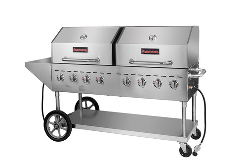 "Sierra Range SRBQ-60 Eight Burner 80""W Full Stainless Steel Double Mobile Outdoor LP Gas Grills by MVP Group Corp 