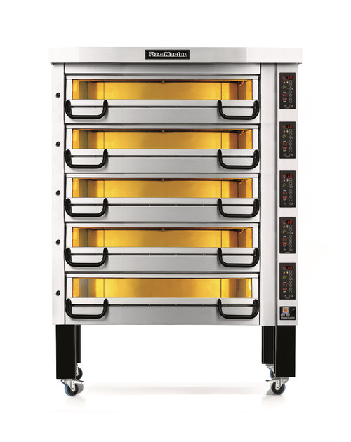 """PizzaMaster PM825ED 800 Series Five Deck Electric Modular Pizza Ovens with Two 16""""W Stone Hearth per Deck   Ten (10) 16 inch Wide Stones 5 Deck Commercial Ovens with Electronic Control & Digital Display"""
