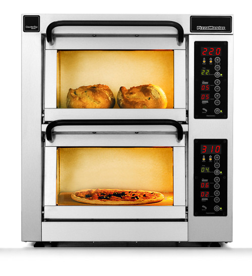 """PizzaMaster PM402ED 400 Series 16.1"""" Standard Width Two Chamber 2 Stone Hearth Electric Countertop Pizza Ovens 