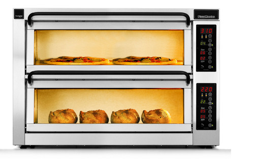 """PizzaMaster PM452ED-DW 450 Series Double Width (36.2"""") Two Chamber 2 Stone Hearth Electric Countertop Pizza Ovens   Double Deck Counter Top Pizza Ovens with 2 Chambers, 2 Stones, Electronic Control & Digital Display"""