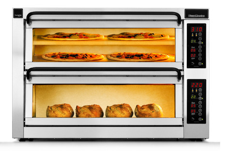"""PizzaMaster PM452ED-1DW 450 Series Double Width (36.2"""") Two Chamber Three Stone Hearth Electric Countertop Pizza Ovens   Double Deck Counter Top Pizza Ovens with 2 Chambers, 3 Stones, Electronic Control & Digital Display"""