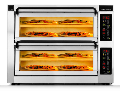 """PizzaMaster PM452ED-2DW 450 Series Double Width (36.2"""") Two Chamber Four Stone Hearth Electric Countertop Pizza Ovens   Double Deck Counter Top Pizza Ovens with 2 Chambers, 4 Stones, Electronic Control & Digital Display"""