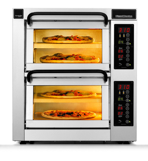 """PizzaMaster PM552ED-2 550 Series 21.1"""" Standard Width Two Chamber Four Stone Hearth Electric Countertop Pizza Ovens 