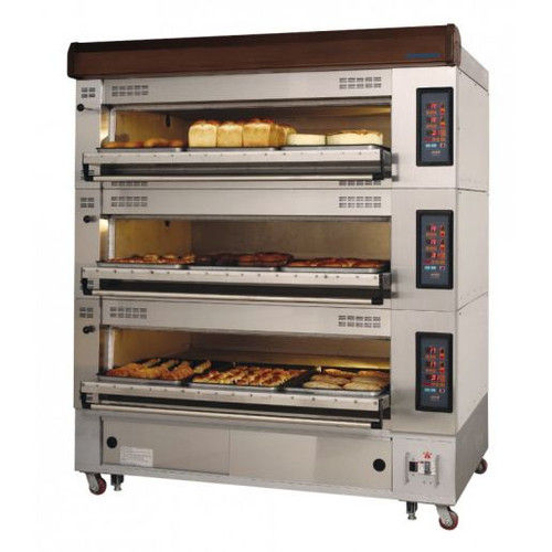 """Turbo Air RBDO-23 Three Tier Electric Radiance Deck Oven Holds Two European Size 16""""x24"""" Trays Per Deck   Pizza Ovens with 2 Pans Per Deck and 3 Tiers"""