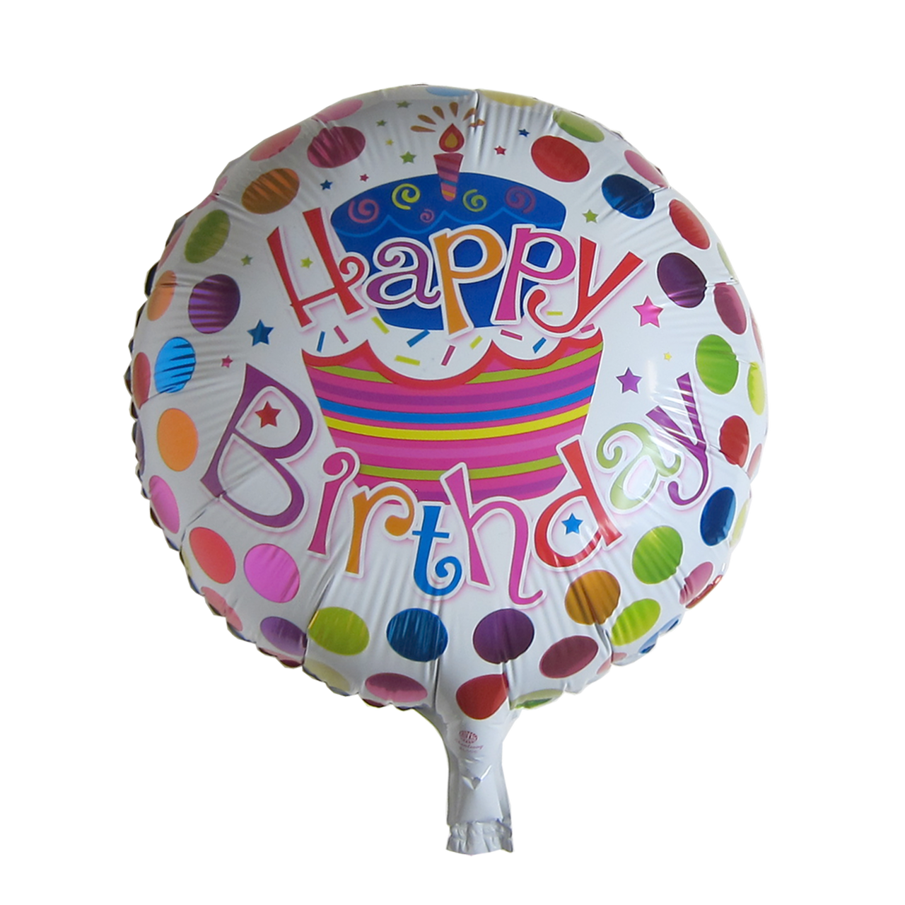 17 Inch Round Happy Birthday Mylar Balloon Cake Dots