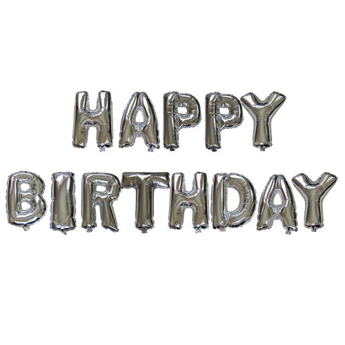 14 inch Alphabet Balloons Set (Happy Birthday - Silver)