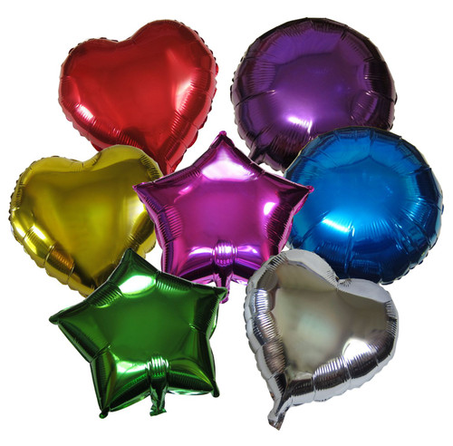 Mixed Shapes Mylar Balloons Assorted 7 Pieces Set
