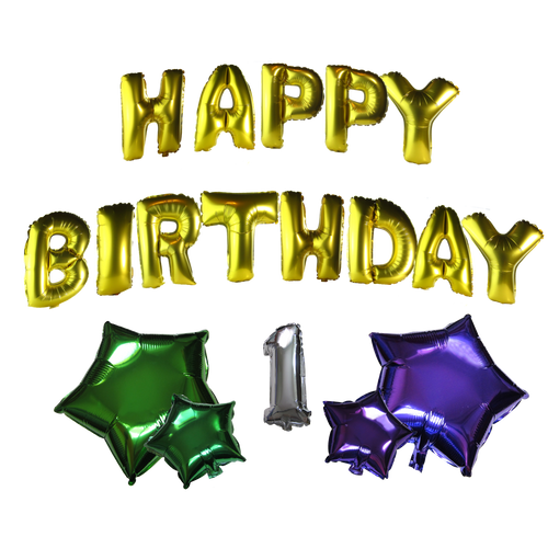 Happy Birthday Gold Number Star 18 Pieces Set