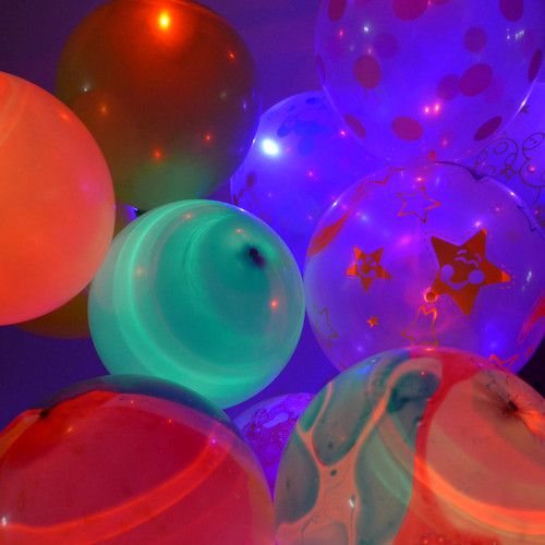 "12"" LED Latex Balloons (5ct - Marble / Color / Clear)"