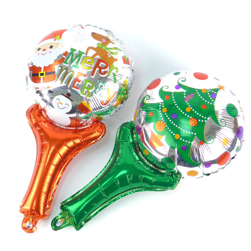 "10"" Xmas Theme Handheld Stick Balloon (Xmas Tree / Santa)"