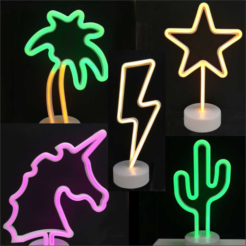 LED Neon Sign Table Stand (Unicorn / Lightning / Cactus / Star)