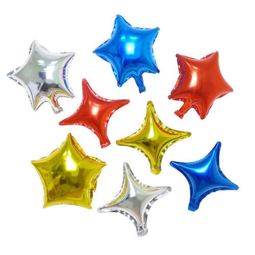 10 inch Mutli-Color Quadrangle Star Shapes Balloon Set 16pcs