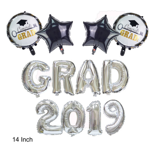 14-inch Grad 2019 Mylar Balloons Set with Black Star & Round Grad Balloons