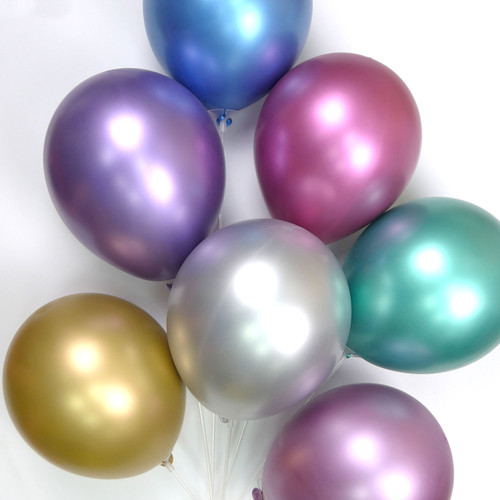 12 inch Chrome-like Metallic Latex Balloon (14ct)