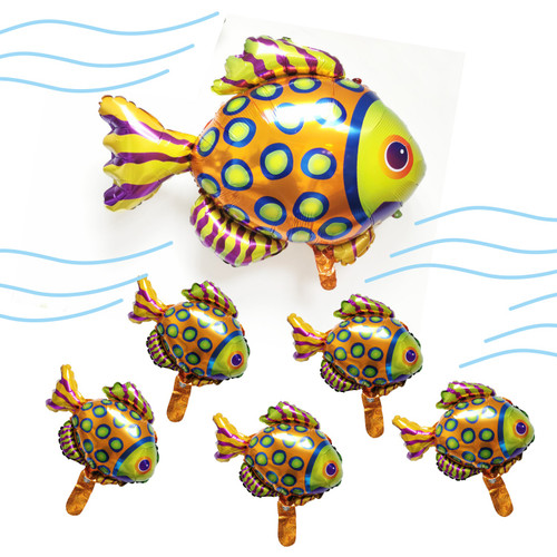 Colorful Tropical Fish Balloon 6pcs Babies & Mom Set for Baby Shower Birthday Party