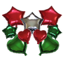 Mixed Shapes Mylar Balloons Green Red 9 Pieces Set