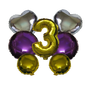 Mixed Shapes Number Mylar Balloons Gold Purple Silver 7 Pieces Set